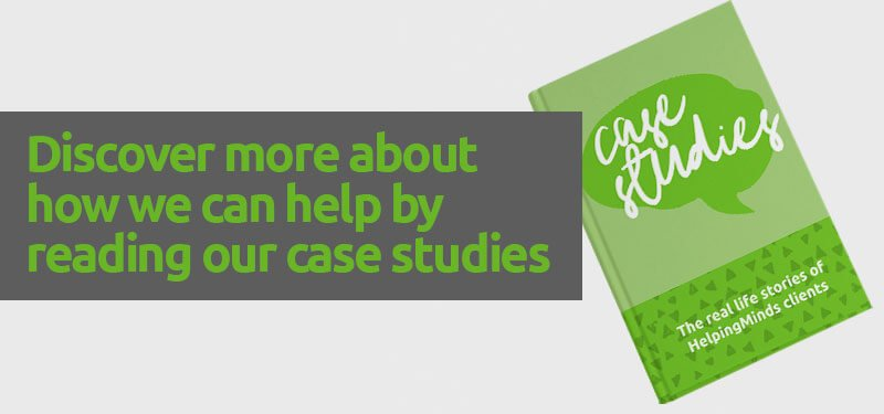 Promotional banner for real life stories of HelpingMinds® Clients
