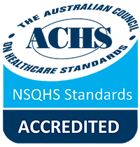 The Australian Council on Healthcare Standards's NSQHS Standards Accredited logo for HelpingMinds®